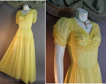 40s dress early 1940s vintage BELLE YELLOW rayon chiffon party gown wedding prom formal dress