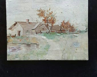 Vintage landscape oil painting