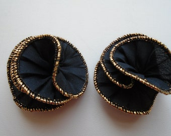 Shoe Clips Black Gathered Silk Swirls With Gold Tone Trimming FREE SHIPPING