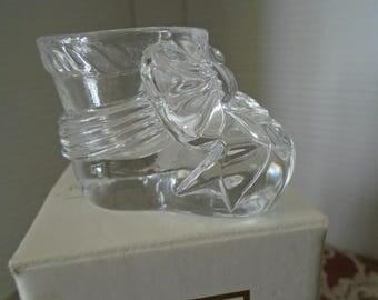 Avon Keepsake crystal Baby Bootie  Vintage Avon Baby collectibles Baby Decor