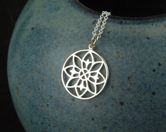 Mandala pendant necklace in sterling silver, geometric, mystical, bohemian, mandalla, yoga inspired, mandala flower, mother's day