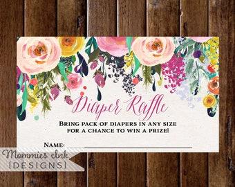 Floral Diaper Raffle Ticket, Diaper Shower, Watercolor Flower Ticket, Custom Diaper Raffle