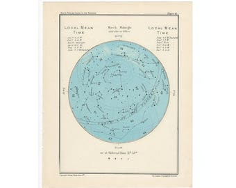 1955 MARCH or APRIL original vintage month star map celestial astronomy print
