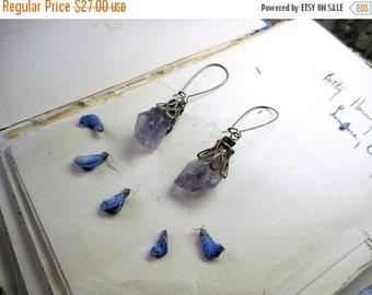 Creeping Phlox. Rough raw Lavender Amethyst stones & floral brass bead cap dangle earrings.