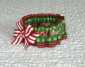 """Dog Collar, Pet Bandana, Peppermint Candies Dog Scrunchie Collar with striped bow -  Size S - 12"""" to 14"""" neck size"""