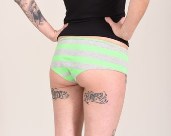 Lime Green and Grey Gray Striped Lowrise Hipster Boyshort Panties Cute Lingerie Womens Small Medium Large Xlarge