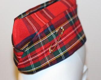 Punk Army Hat Military Cap Wedge Cap Pin Up Hat Pinup Cap Garrison Cap Hat Red Plaid Hat Tartan Cap with Kilt Pin Mens Womens Unisex
