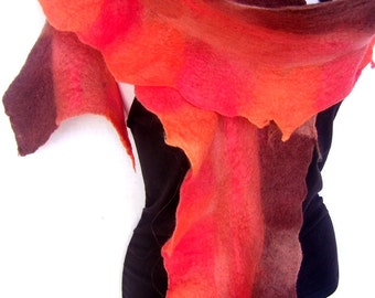 Felted Scarf, Ruffled Wavy, Orange Sienna Brown , Merino Wool Scarf, Warm Winter Felt Scarf
