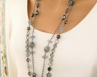 Multi Strand Necklaces, Multi Strand Long Gray Necklace, Beaded Gray Necklace, Multi Strand Layered Chain Necklace, Gray Necklace, N863