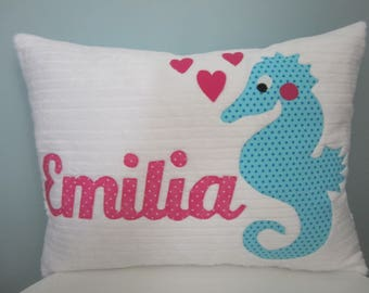 Bright Seahorse Personalized Pillow
