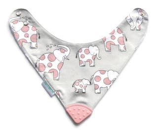 Baby Bandana Bib With  Sewn on Food Safe  Silicone Teether Corner, Elephants, Reversible  Minky Lined