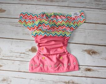 Springy chevron OS pocket diaper- Spring- summer- chevron- zigzag- girly-pink-cloth diaper- pocket diaper