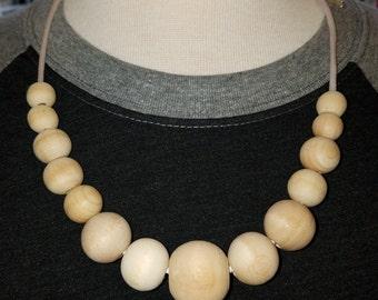 Natural wood nursing necklace