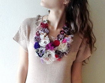 Purple Statement bib necklace,ivory fabric flower necklace, Handmade Bohemian Necklace , country wedding
