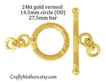 RESERVED for Heidi, One Set Bali Gold Vermeil Textured Toggle Clasp, 14.5mm ring with 27.5mm bar, artisan made, bracelet, necklace
