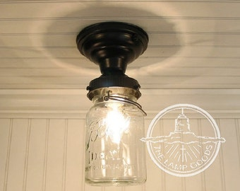 Single Vintage Canning Jar Ceiling LIGHT - Mason Jar Lighting Fixture Flush Mount Chandelier Track Fan Kitchen Farmhouse Pendant LampGoods