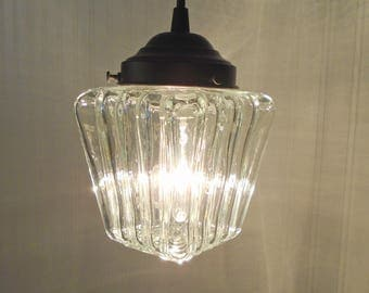 PENDANT Light of Vintage Clear Glass Porch Globe - Kitchen Clear Upcycle Antique Glass Ceiling Flush Mount Lighting Fixture by Lamp Goods