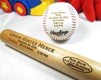 Personalized Engraved Baby Keepsake Bat, Baseball, Baby Announcement Baseball Bat, Baby Boy Gifts, Baby Shower Gift, Baseball Fans Combo