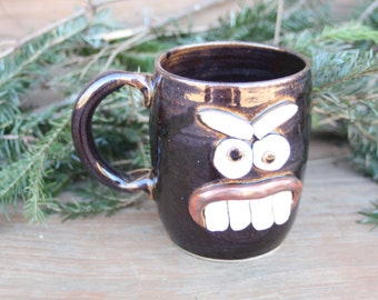 Big Angry Mug Face Coffee Cup. 16 Ounces. Hot Chocolate Cup. Unusual Unique Pottery Mugs. Black Ceramic Stoneware Beer Stein Tankard