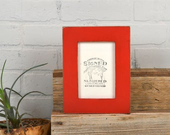 "4x6 Picture Frame in 1.5"" Standard Style with Vintage Red Painted Finish - IN STOCK - Same Day Shipping - 4 x 6 Photo Frame"