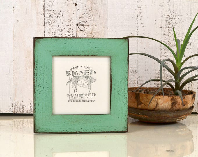 "5x5"" Square Picture Frame in Reclaimed Cedar with Vintage Robin's Egg Finish - IN STOCK - Same Day Shipping - 5 x 5 Reclaimed Wood"