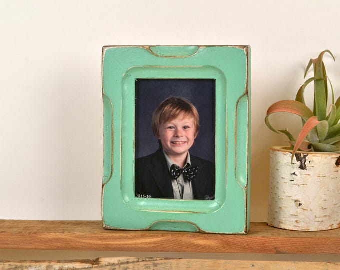 "Wallet Photo Frame 2.5 x 3.5"" ACEO Card Size Picture Frame in Shallow Bones Style with Vintage Robin's Egg Finish - Can Be Any Color"