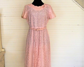 Vintage Lace Dress, 1960s Pink Lace Dress Size Medium Spring, Easter Dress, Pink Lace, Bridesmaid, Mother of the Bride Dress, Garden Party