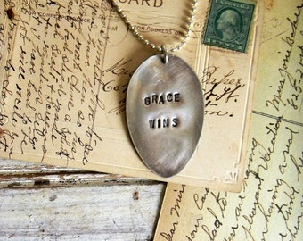 Spoon Necklace, Stamped Spoon Necklace Grace Wins Inspiraitonal Quote Necklace , Spoon Jewelry, Silver Spoon Necklace, Vintage Spoon Pendant