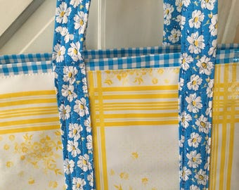 Swedish summer---yellow and blue oilcloth tote bag