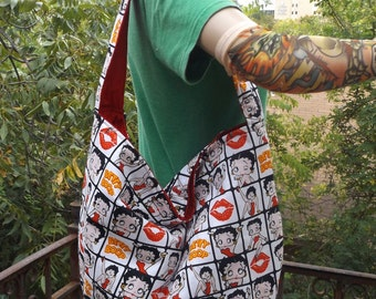 Betty Boop Comic  Slouch /  Hobo Style Bag
