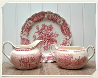 Red Transferware Creamer and Sugar Bowl Set with Cookie Plate made in England vintage mismatched China sets
