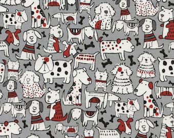 Mixed Dog Breeds Puppy Whimsical Furry Pet Puppies and Bones Fabric on Gray TT