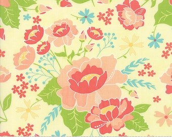 LuLu Lane Moda Floral Flower Fabric Garden Spring Flowers on Canary Yellow  29020 12