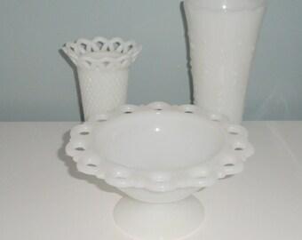 Lot of 3 Vintage Milk Glass Decorative Pieces Two Vases One Pedestal Bowl