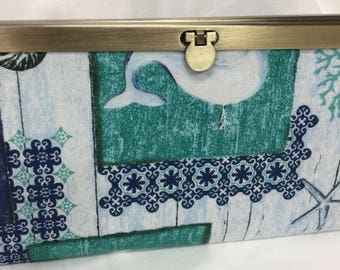Seashore Fabric Wallet Fashion Wallet Credit Card Holder Whale Diva Wallet