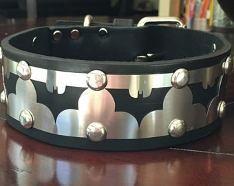 "Batman Stainless Steel Latigo Leather Dog Collar-2"" inches wide"