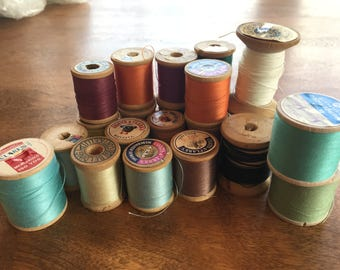 Vintage - Wood - Thread Spools - Twenty Two - Various color thread - Crafting Supply - Display - Repurpose