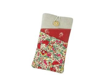 Red Liberty Phone Sleeve, Moto G5 Plus, Galaxy S7 Edge, Samsung S8 Plus Case, Fabric Phone Pouch, Gift for Mum, Nexus 6P, LG G6 Case