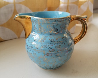 Gorgeous Petite Ceramic 22k gold floral blue pitcher  gold flowers  made usa small Pitcher
