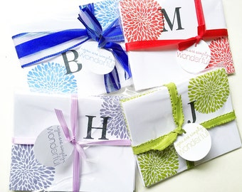Best Bridesmaid Gift. Affordable gift. Colorful Initial Girlfriend Gift. Stampin Up. Stamped Letter stationary.Personalized gifts for her