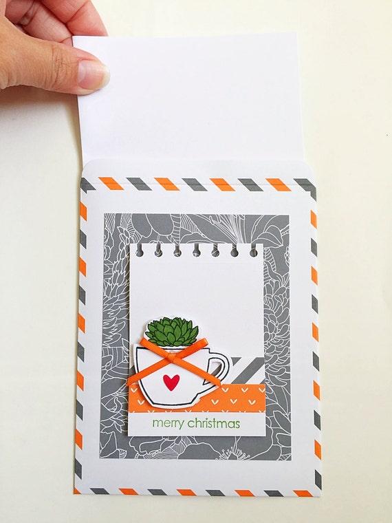 Succulent Christmas Card. Christmas Stocking Stuffer. Christmas Gift for Gardener, Botanist. Plant Lover Gift. Desert Holiday Card