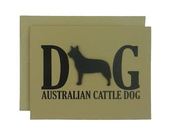 Australian Cattle Dog Greeting Card Black Dog Card Single or 10 Pack of Card Set of Card Kraft Card Dog Note Card Kraft Cards Dog Note Cards