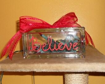 Believe Glass Block