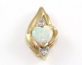 SALE Opal heart and Diamond pendant for necklace solid 10k yellow Gold