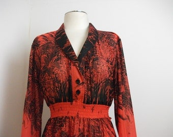 Red Sheer 70s Disco Dress, Size S/M