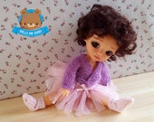 Ballerina, ballet cardigan, jacket knitted in mohair, jacket for Pukifee, Lati Yellow, and similar dolls mauve color