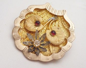 Hand Carved Floral Scene Red and White Synthetic Stones Clam Shell 1880s Gold Filled Brooch Pendant
