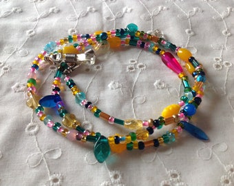 Bright and Cheerful Beaded Eyeglass Leash Free Shipping