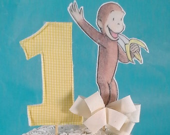 Curious George cake topper, fabric book birthday party cake top, monkey topper, E315