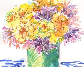yellow and purple bouquet watercolor painting 6x8